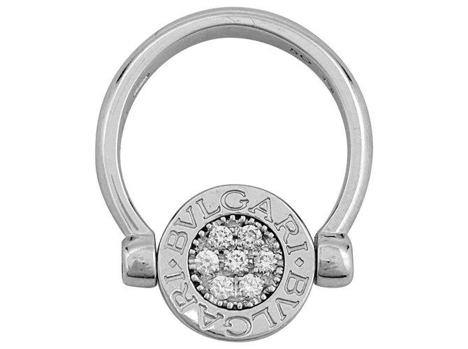 """Bagues Bulgari Bague Bulgari """"Bulgari-Bulgari"""" en or blanc, diamants et onyx. Or blanc,Autre Autre ref.152896"""