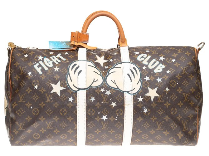"Louis Vuitton Louis Vuitton Keepall 55 Monogram ""Mickey Fight Club II"" customized by PatBo! Bags Briefcases Leather,Cloth Brown ref.152996"