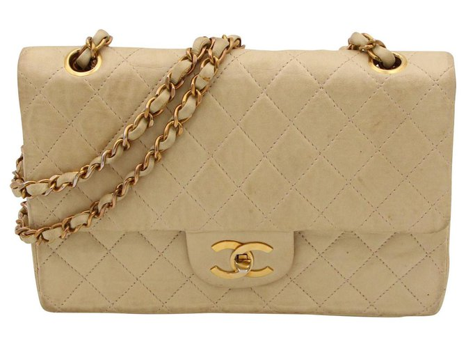 Chanel Vintage CHANEL bag, Timeless model, CIRCA 1970, Handbags Leather Beige ref.153141