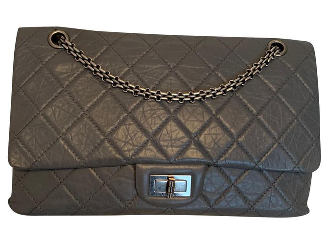 Chanel Reissue Handbags Leather Grey ref.153201