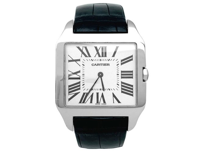 """Cartier Cartier watch """"Santos-Dumont"""" model in white gold on leather. Misc Leather,White gold Other ref.153211"""