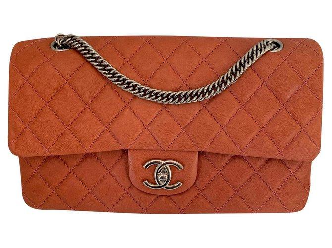 Sacs à main Chanel Classique Cuir Rose,Orange,Corail ref.153272