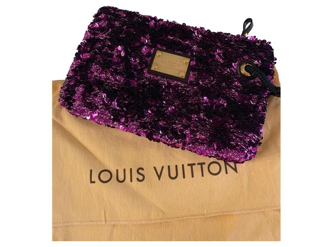 Louis Vuitton Louis Vuitton Rococo Sequin Clutch Clutch bags Other Purple ref.220590