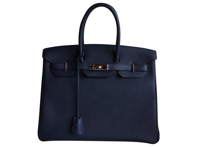 Hermès HERMES BIRKIN 35 Handbags Leather Navy blue ref.153380