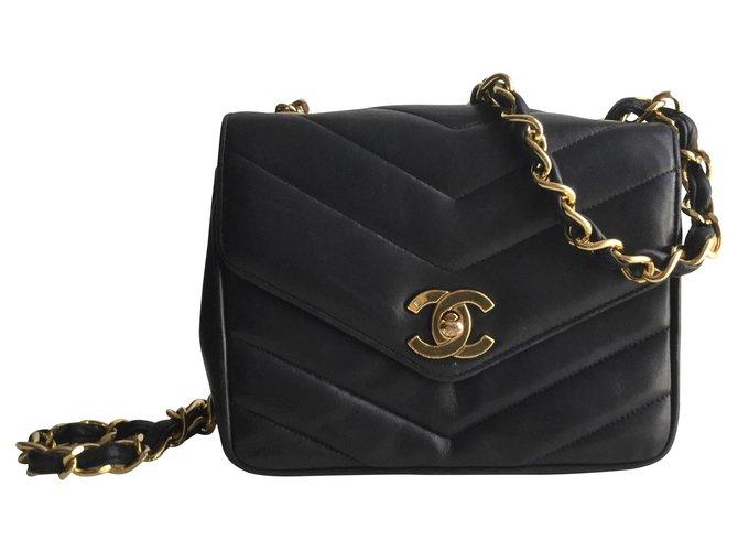 Chanel Mini flap Timeless Handbags Leather Dark blue ref.153421