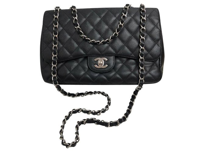 Chanel Jumbo Handbags Leather Black ref.153427