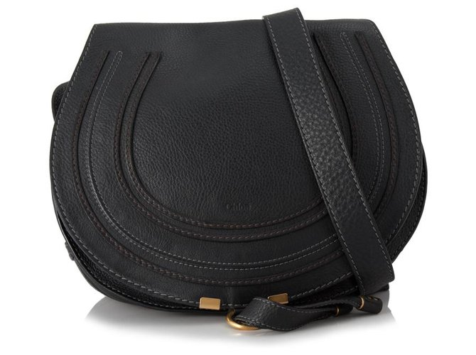 Chloé Chloe Black Leather Marcie Crossbody Bag Handbags Leather,Pony-style calfskin Black ref.153471