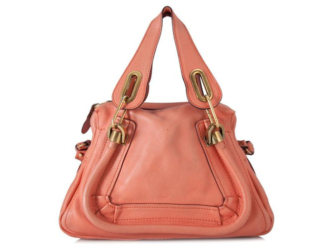 Chloé Chloe Pink Leather Paraty Satchel Handbags Leather,Pony-style calfskin Pink ref.153475