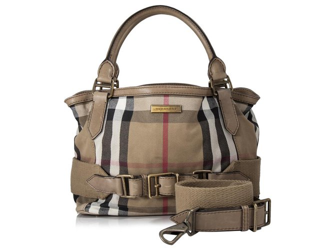 Burberry Burberry Brown House Check Canvas Satchel Handbags Leather,Other,Cloth,Cloth Brown,Multiple colors ref.153536