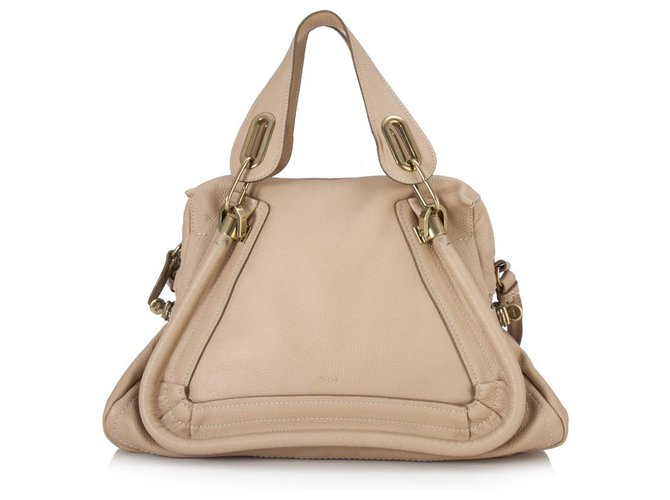 Chloé Chloe Brown Leather Paraty Satchel Handbags Leather,Pony-style calfskin Brown,Beige ref.153544