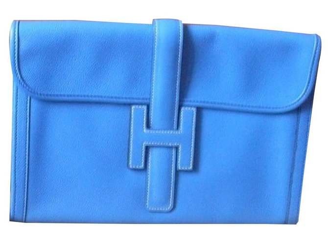 "Hermès Hermès Clutch Type ""Jigé"" Clutch bags Leather Blue ref.153601"
