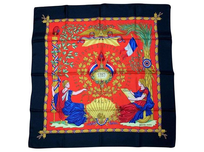 Hermès 1789 Silk scarves Silk Black ref.153665
