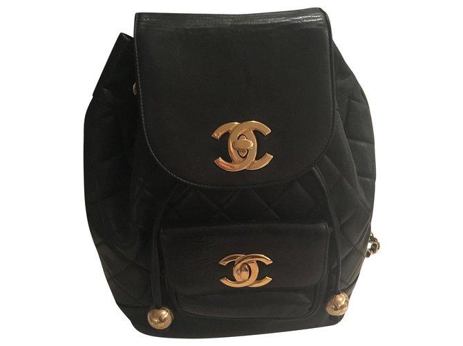 Chanel Backpack Backpacks Lambskin Black ref.153678