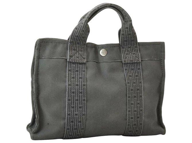 Hermès Hermès Herline Handbags Cloth Grey ref.153850
