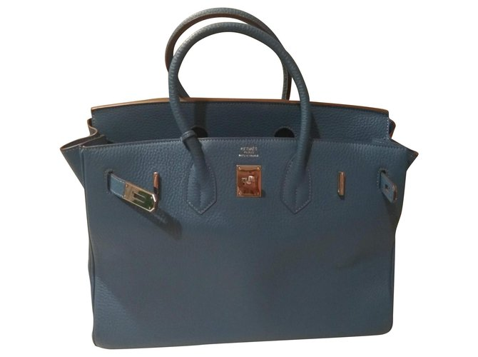 Hermès Birkin Handbags Leather Light blue ref.153909