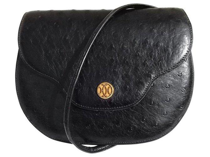 Hermès Hermès purse purse purse Black Ghw Ostrich purse Handbags Exotic leather Black ref.153925