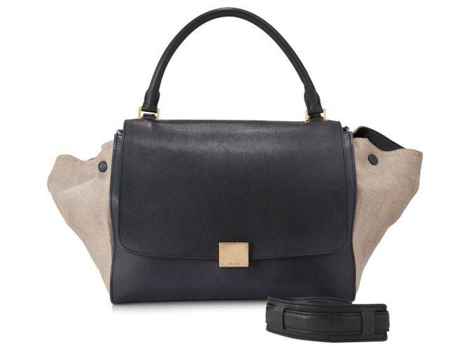Céline Celine Black Suede Trapeze Satchel Handbags Suede,Leather,Other Brown,Black,Beige ref.153978