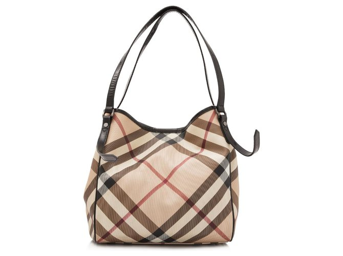 Burberry Burberry Brown House Check Canterbury Handbags Leather,Other,Cloth,Cloth Brown,Multiple colors,Beige ref.154005
