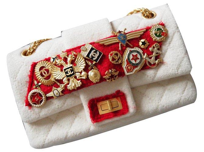 Chanel Chanel 2.55 Paris Moscow Handbags Cotton,Wool Eggshell ref.154101