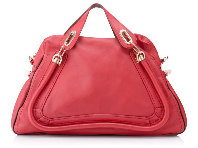 Chloé Chloe Red Leather Paraty Satchel Handbags Leather,Pony-style calfskin Red ref.154181
