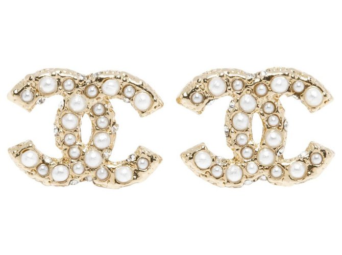 Chanel CC DIAMONDS AND PEARLS Earrings Metal Golden ref.154242