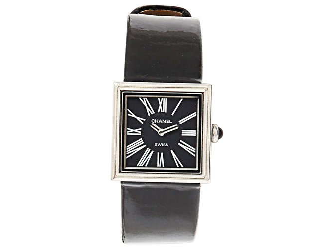 Chanel MADEMOISELLE BLACK PATENT Fine watches Patent leather,Steel Black,Silvery ref.137359