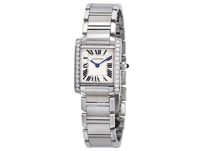 Cartier Cartier Tank Francaise Aftermarket Diamond Bezel Watch 2384 Fine watches Steel White ref.154301