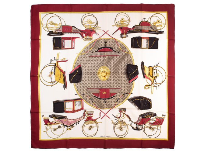 """Hermès Square Hermes 90 in twill silk """"transforming cars"""" in very good condition! Golden Cream Dark red  ref.154312"""