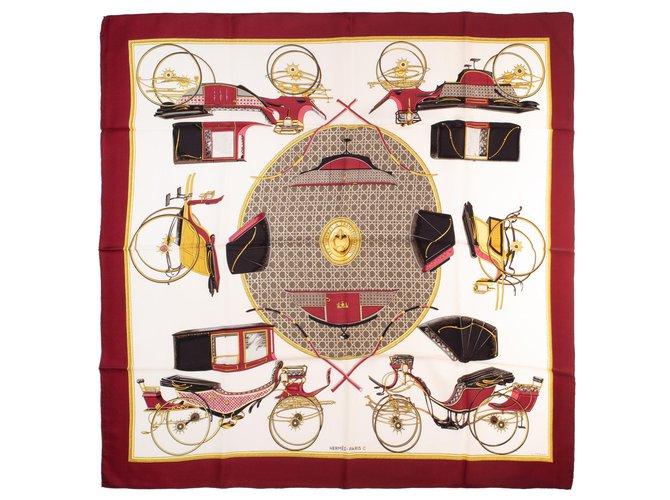 "Hermès Square Hermes 90 in twill silk ""transforming cars"" in very good condition! Silk scarves Silk Golden,Cream,Dark red ref.154312"