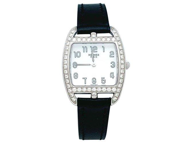 "Hermès watch ""Cape Cod Tonneau"" model in steel and diamonds on leather.  ref.154351"