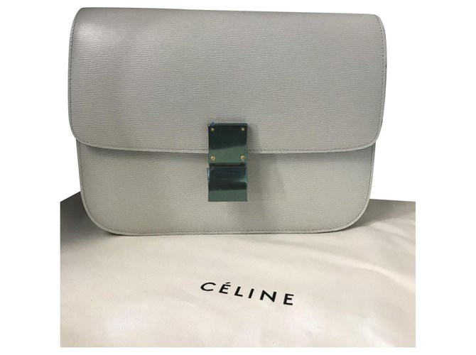 Céline CELINE CLASSIC BOX BAG BAG NEW MEDIUM SIZE LIEGE LEATHER Handbags Leather Grey ref.154407