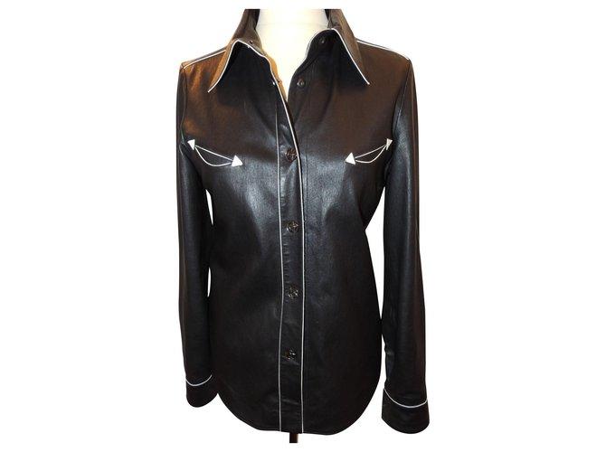 Chanel CHANEL JACKET LAMB LEATHER SHIRT.40 Jackets Lambskin Black ref.154420