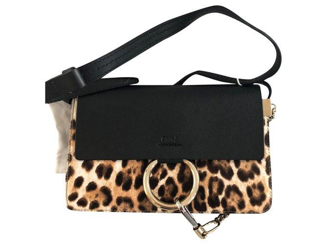 Chloé Sac chloe faye Handbags Pony-style calfskin Black,Leopard print ref.154493