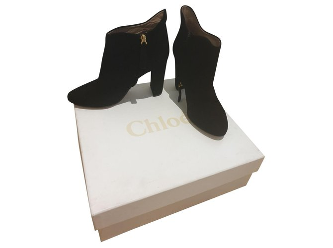 Chloé Ankle Boots Ankle Boots Suede Black ref.154559