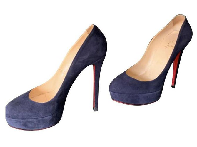 Christian Louboutin Bianca Heels Pony-style calfskin Navy blue ref.154570