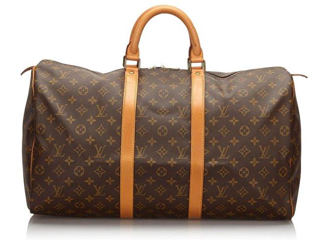 Sacs de voyage Louis Vuitton Louis Vuitton Keepall Monogram Brown 50 Cuir,Toile Marron ref.154593