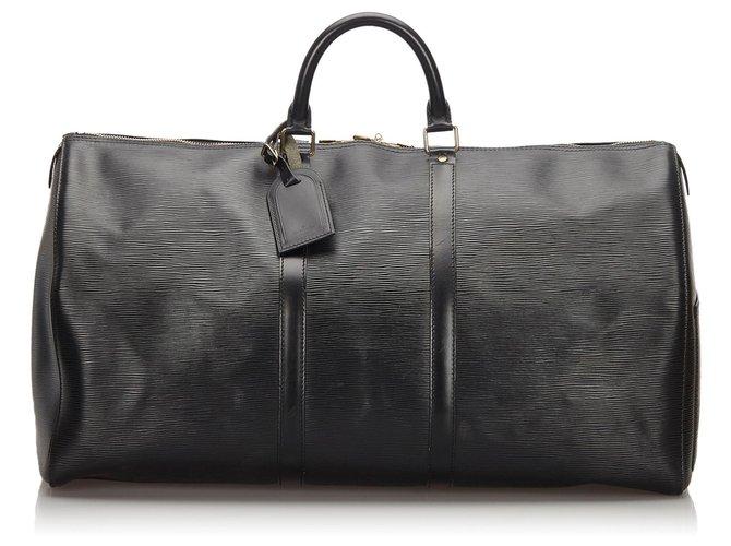 Sacs de voyage Louis Vuitton Louis Vuitton Black Epi Keepall 55 Cuir Noir ref.154611
