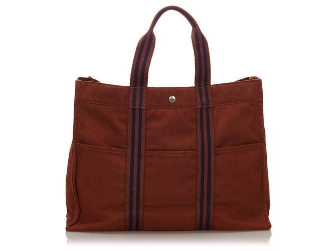 Cabas Hermès Hermes Brown cabas GM Toile,Tissu Marron,Bleu,Bleu foncé ref.154617