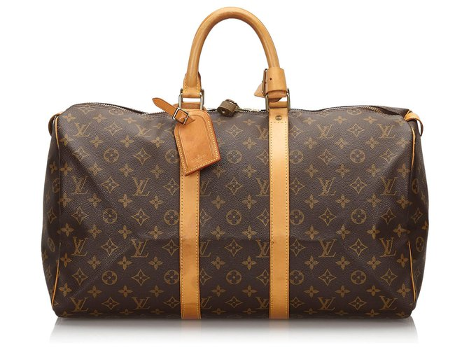 Sacs de voyage Louis Vuitton Louis Vuitton Keepall Monogram Brown 45 Cuir,Toile Marron ref.154661
