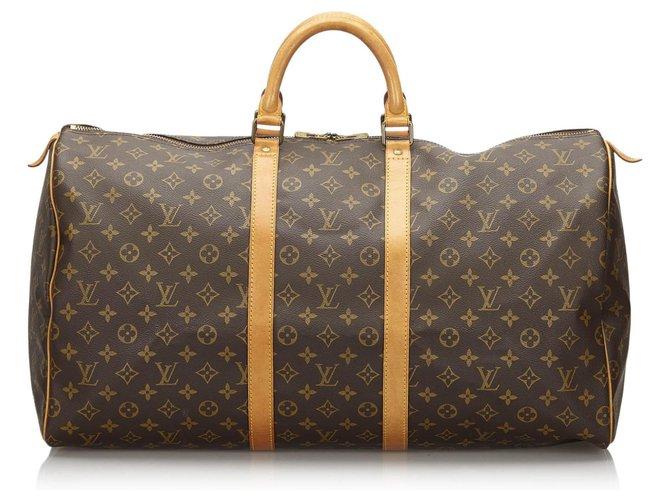 Sacs de voyage Louis Vuitton Louis Vuitton Keepall Monogram Brown 55 Cuir,Toile Marron ref.154785