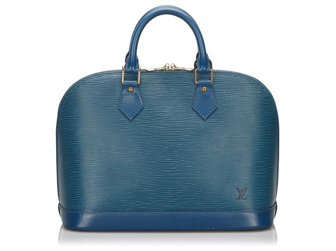 Sacs à main Louis Vuitton Louis Vuitton Blue Epi Alma PM Cuir Bleu ref.154788