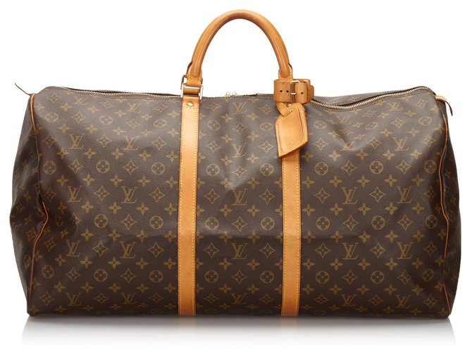 Sacs de voyage Louis Vuitton Louis Vuitton Keepall Monogram Brown 60 Cuir,Toile Marron ref.154818