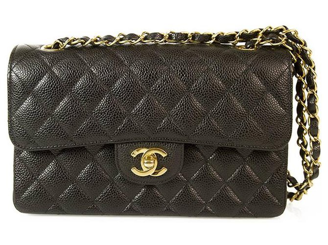 Chanel CHANEL Black Caviar Leather Timeless Classic lined Flap Small Bag Gold hrdwr Handbags Leather Black ref.154954