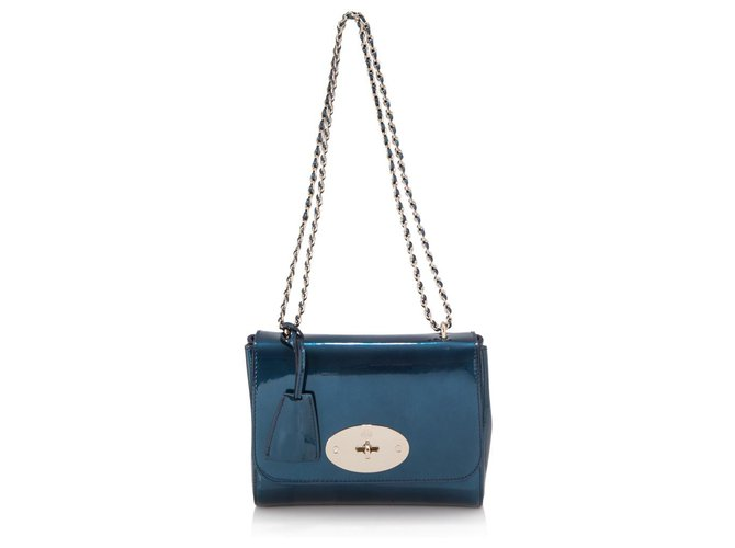 Mulberry Mulberry Blue Grained Leather Lily Handbags Leather,Other Blue ref.154978