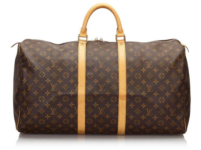 Sacs de voyage Louis Vuitton Louis Vuitton Keepall Monogram Brown 55 Cuir,Toile Marron ref.154985