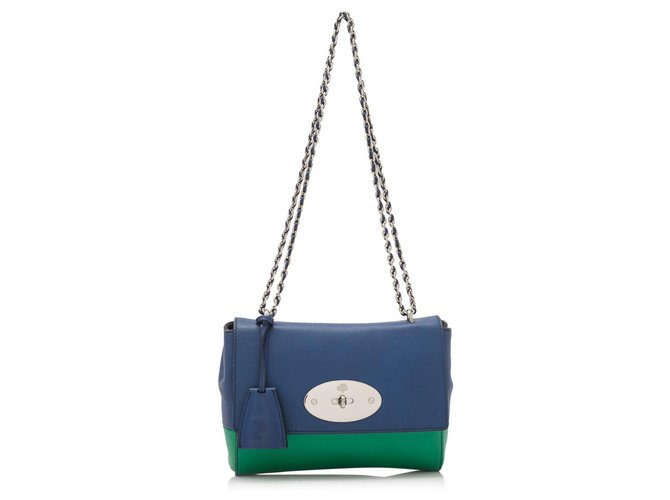 Mulberry Mulberry Blue Lambskin Leather Lily Handbags Leather Blue,Green ref.154998
