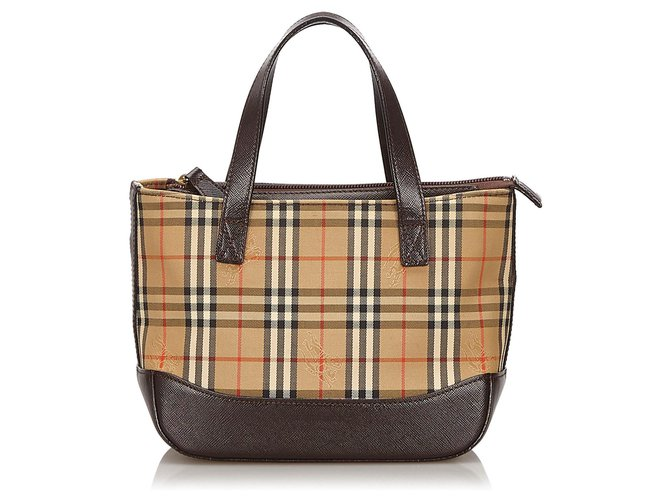 Burberry Burberry Brown Haymarket Check Canvas Handbag Handbags Leather,Other,Cloth,Cloth Brown,Multiple colors,Beige ref.155003