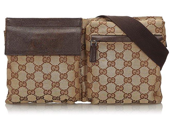 Pochettes Gucci Gucci Brown GG Sac de ceinture en toile Cuir,Autre,Toile,Tissu Marron,Beige ref.155005