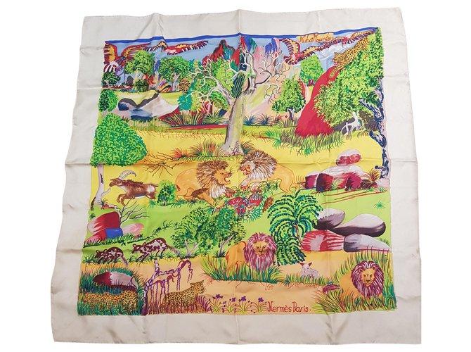 Hermès Nabu mountain Silk scarves Silk Eggshell ref.155186