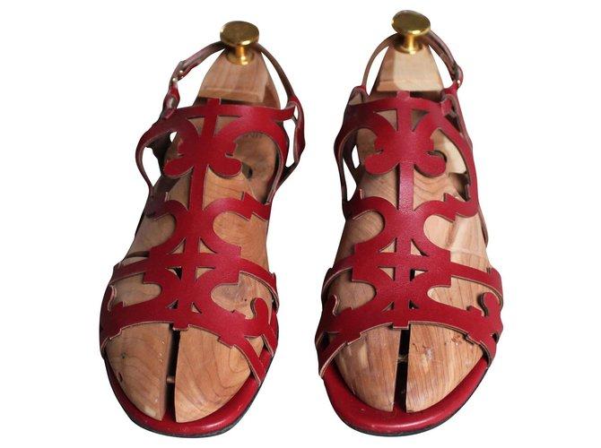 Hermès openwork red sandals Sandals Leather Red ref.155200